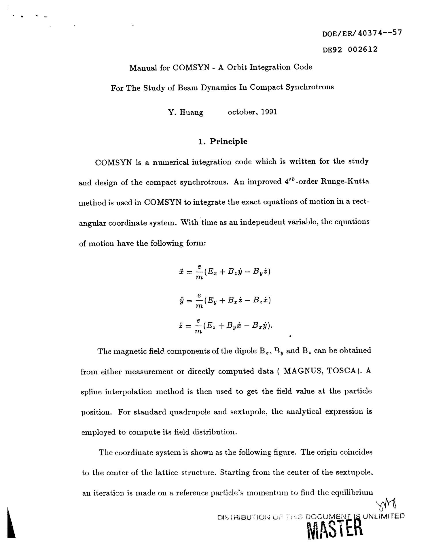 Manual for COMSYN: A orbit integration code for the study of beam dynamics in compact synchrotrons                                                                                                      [Sequence #]: 1 of 11