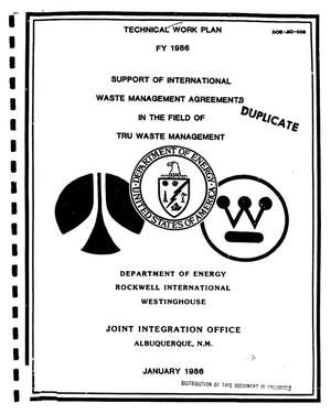 Primary view of object titled 'Support of International Waste Management Agreements in the field of TRU Waste Management'.