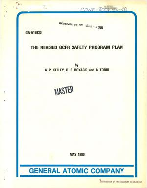 Primary view of object titled 'Revised GCFR safety program plan'.