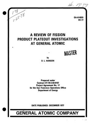 Primary view of object titled 'Review of fission product plateout investigations at General Atomic. [HTGR]'.
