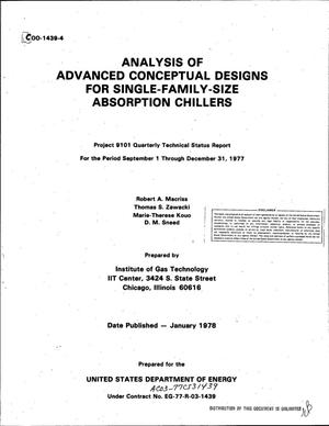 Primary view of object titled 'Analysis of advanced conceptual designs for single-family-size absorption chillers'.