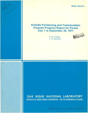 Primary view of object titled 'Actinide partitioning and transmutation program. Progress report, July 1--September 30, 1977'.