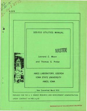 Primary view of object titled 'SDS-910 utilities manual'.