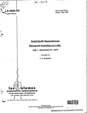 Primary view of object titled 'Solid earth geosciences research activities at LASL July 1--December 31, 1974'.