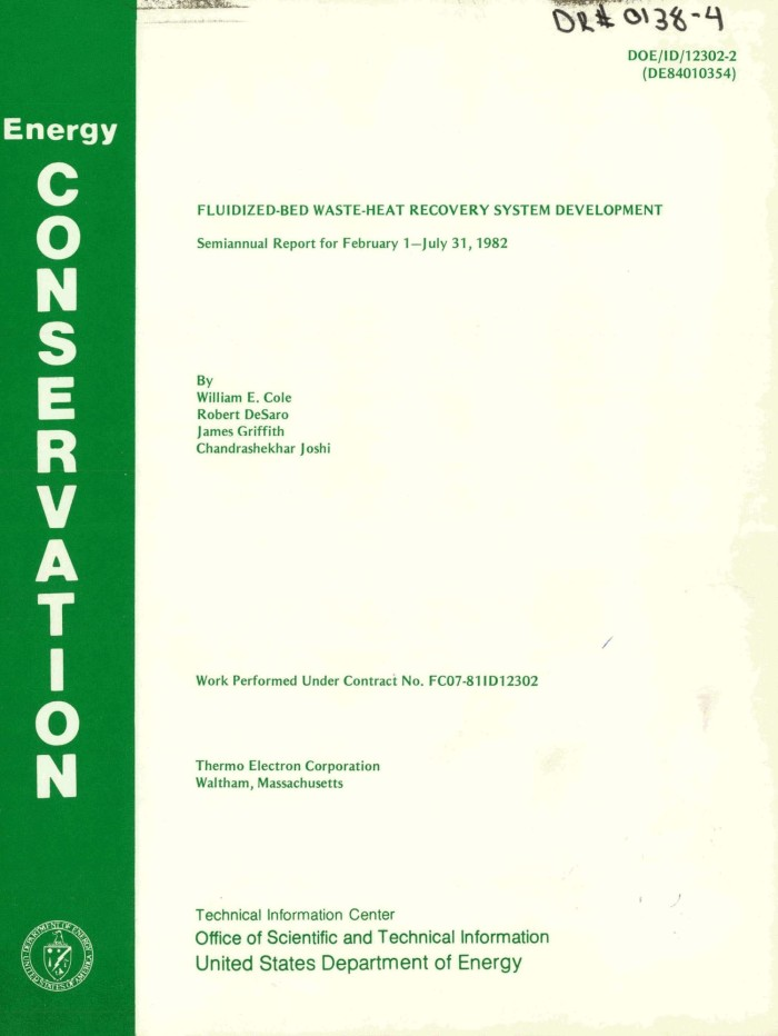 fluidized bed waste heat recovery system development semiannual