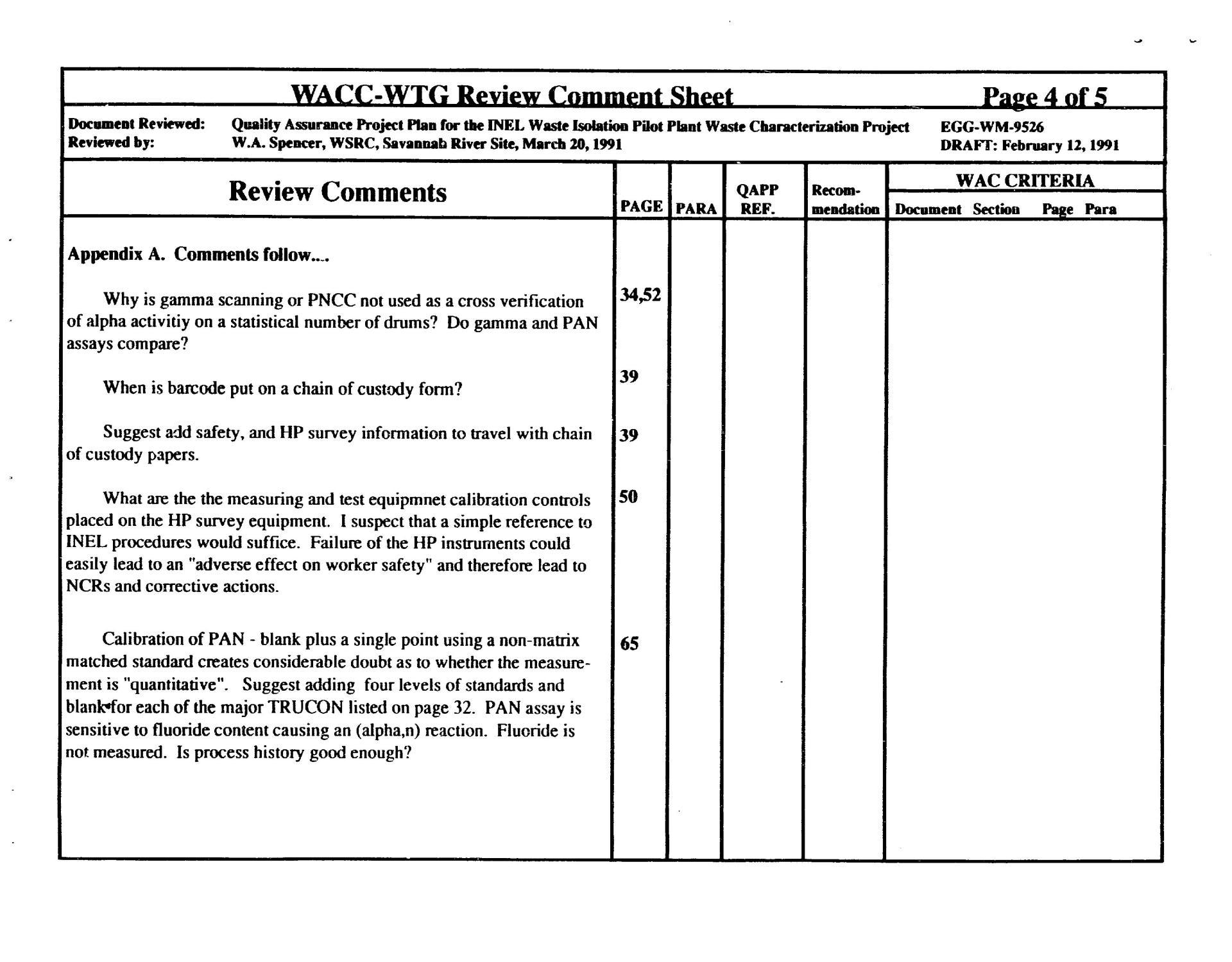 WACC-WTG Review Comment Sheets                                                                                                      [Sequence #]: 7 of 10