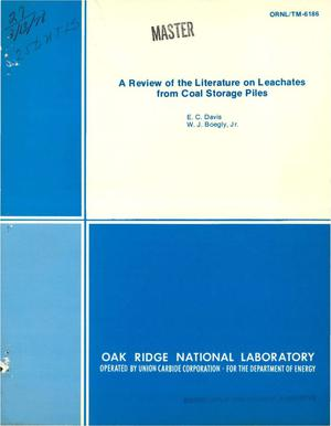 Primary view of object titled 'Review of the literature on leachates from coal storage piles'.