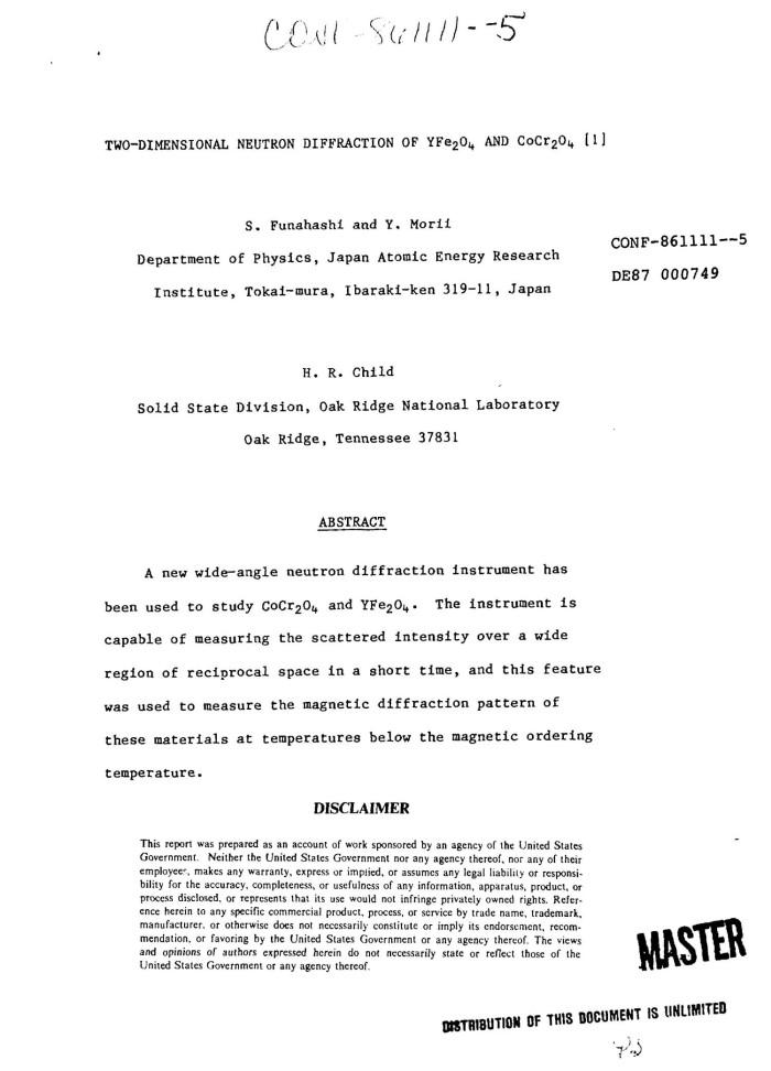 Two-dimensional neutron diffraction of YFe/sub 2/O/sub 4