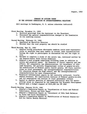 Primary view of object titled 'Summary of actions taken by the Advisory Commission on Intergovernmental Relations'.