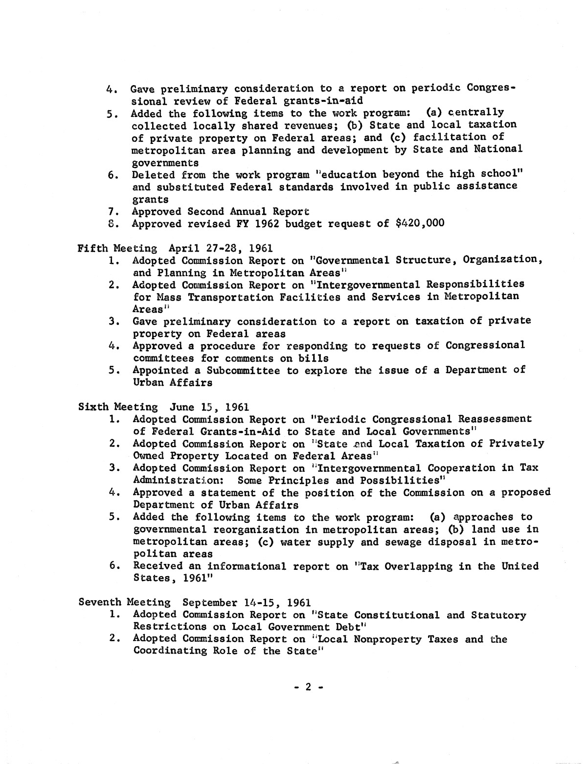 Summary of actions taken by the Advisory Commission on Intergovernmental Relations                                                                                                      2