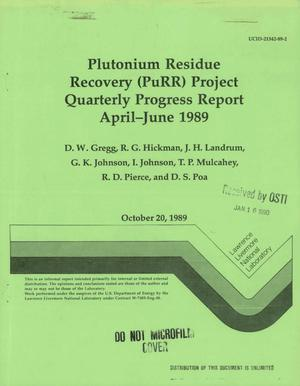 Primary view of object titled 'Plutonium Residue Recovery (PuRR) project quarterly progress report, April--June 1989'.