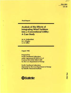 Primary view of object titled 'Analysis of the effects of integrating wind turbines into a conventional utility: a case study. Final report'.