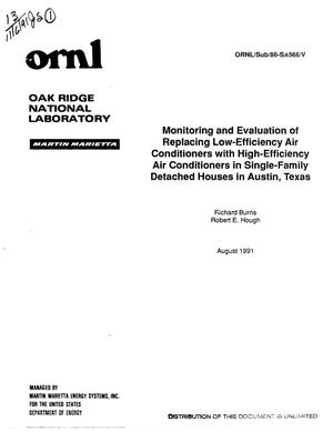 Primary view of object titled 'Monitoring and evaluation of replacing low-efficiency air conditioners with high-efficiency air conditioners in single-family detached houses in Austin, Texas'.