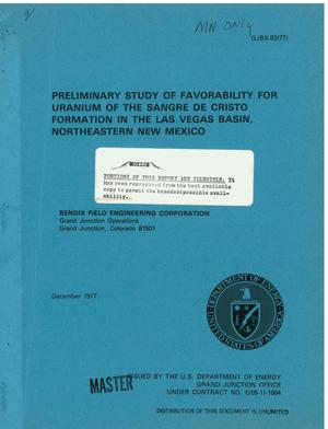 Primary view of object titled 'Preliminary study of favorability for uranium of the Sangre de Cristo Formation in the Las Vegas basin, northeastern New Mexico'.
