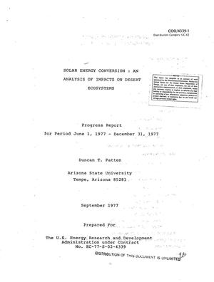 Primary view of object titled 'Solar energy conversion: an analysis of impacts on desert ecosystems. Progress report, June 1, 1977--December 31, 1977'.