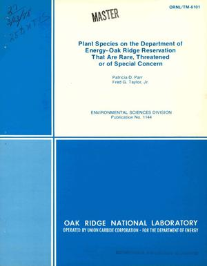 Primary view of object titled 'Plant species on the Department of Energy-Oak Ridge Reservation that are rare, threatened, or of special concern'.