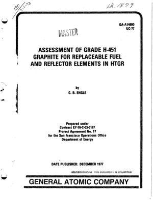 Primary view of object titled 'Assessment of grade H-451 graphite for replaceable fuel and reflector elements in HTGR'.