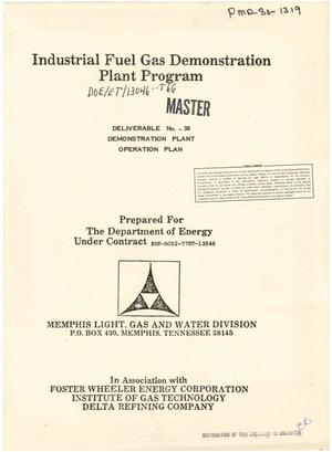 Primary view of object titled 'Industrial Fuel Gas Demonstration Plant Program. Demonstration plant operation plan (Deliverable No. 38)'.