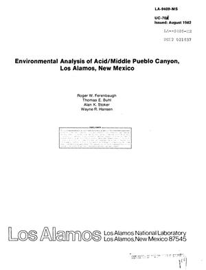 Primary view of object titled 'Environmental analysis of Acid/middle Pueblo Canyon, Los Alamos, New Mexico'.