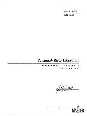 Primary view of object titled 'Savannah River Laboratory monthly report, February 1992'.