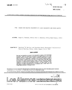 Primary view of object titled 'Packed bed reactor treatment of liquid hazardous and mixed wastes'.