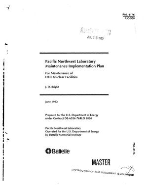Primary view of object titled 'Pacific Northwest Laboratory Maintenance Implementation plan'.