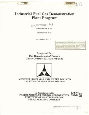 Primary view of object titled 'Industrial Fuel Gas Demonstration Plant Program. Demonstration plant construction plan (Deliverable No. 37)'.