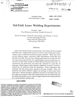 Primary view of object titled 'Nd:YAG laser welding experiments'.