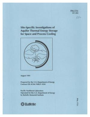 Primary view of object titled 'Site-specific investigations of aquifer thermal energy storage for space and process cooling'.
