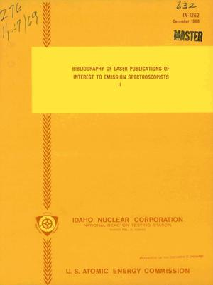 Primary view of object titled 'BIBLIOGRAPHY OF LASER PUBLICATIONS OF INTEREST TO EMISSION SPECTROSCOPISTS. [PART] II.'.
