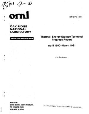 Primary view of object titled 'Thermal energy storage technical progress report, April 1990--March 1991'.