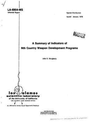 Primary view of object titled 'Summary of indicators of Nth country weapon development programs'.
