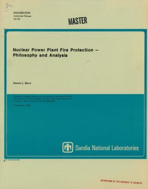 Primary view of object titled 'Nuclear power plant fire protection: philosophy and analysis. [PWR; BWR]'.