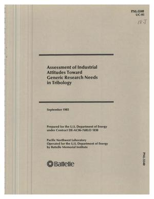 Primary view of object titled 'Assessment of industrial attitudes toward generic research needs in tribology'.