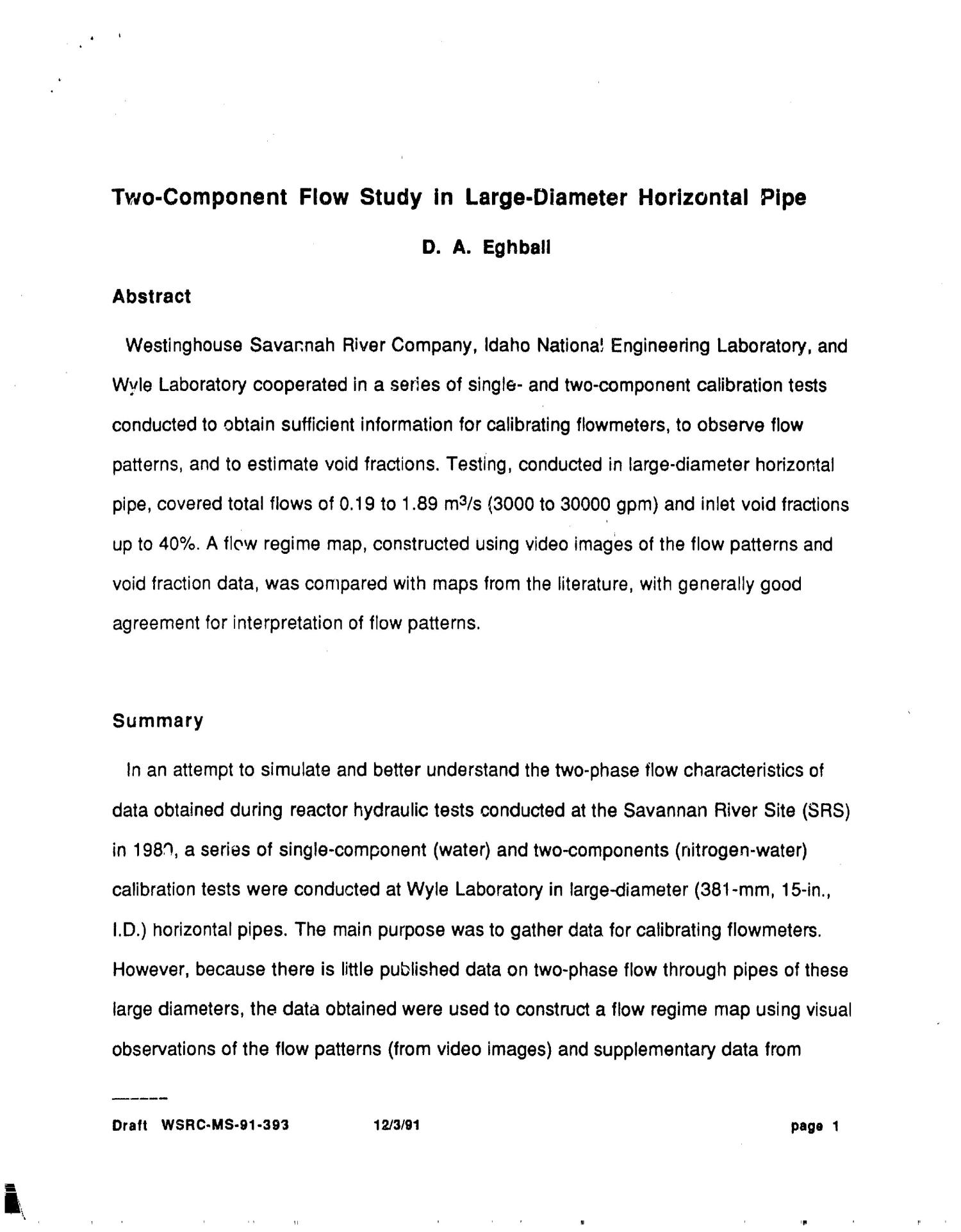 Two-component flow study in large-diameter horizontal pipe                                                                                                      [Sequence #]: 2 of 30