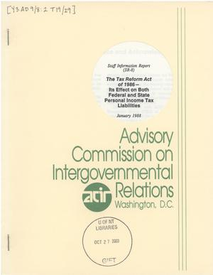 The Tax Reform Act of 1986 : its effect on both federal and state personal income tax liabilities