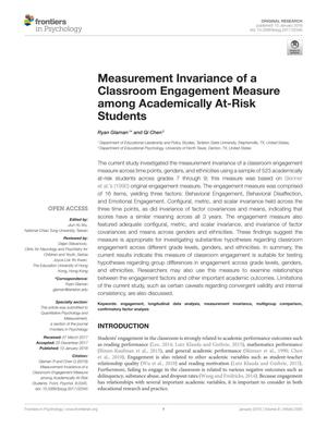 Measurement Invariance of a Classroom Engagement Measure among Academically At-Risk Students