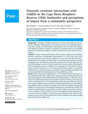 Primary view of Domestic carnivore interactions with wildlife in the Cape Horn Biosphere Reserve, Chile: husbandry and perceptions of impact from a community perspective