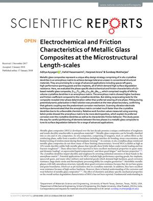 Electrochemical and Friction Characteristics of Metallic Glass Composites at the Microstructural Length-scales