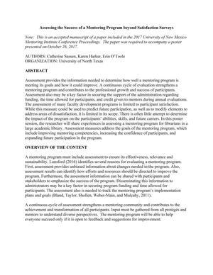 Assessing the Success of a Mentoring Program beyond Satisfaction Surveys