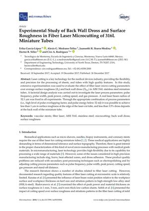Experimental Study of Back Wall Dross and Surface Roughness in Fiber Laser Microcutting of 316L Miniature Tubes