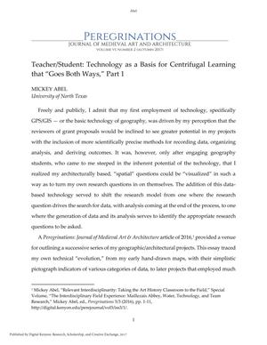 "Primary view of object titled 'Teacher/Student: Technology as a Basis for Centrifugal Learning that ""Goes Both Ways,"" Part 1'."