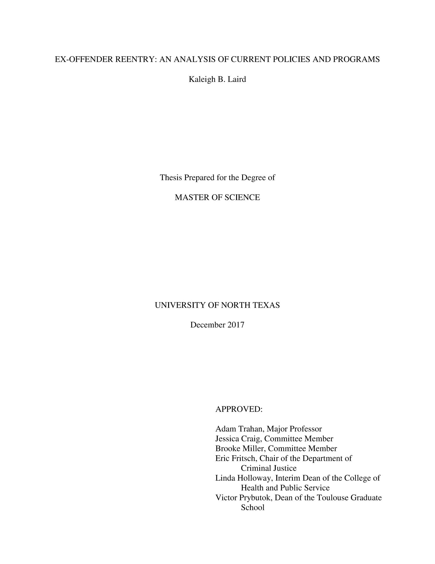 Ex-Offender Reentry: An Analysis of Current Policies and Programs                                                                                                      Title Page