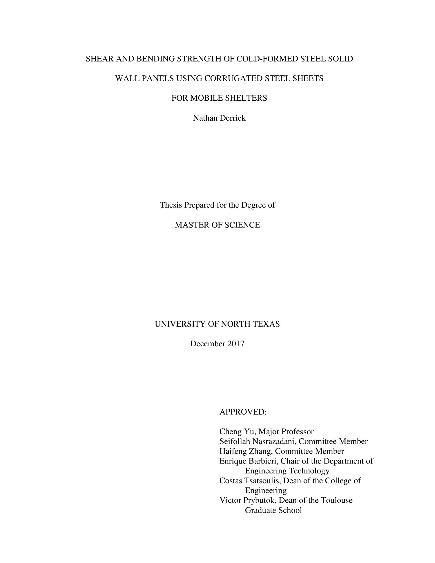 Shear and Bending Strength of Cold-Formed Steel Solid Wall Panels Using Corrugated Steel Sheets for Mobile Shelters                                                                                                      Title Page