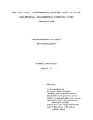 "Primary view of object titled 'Educational Technology: A Comparison of Ten Academic Journals and the New Media Consortium ""Horizon Reports"" for the Period of 2000-2017'."