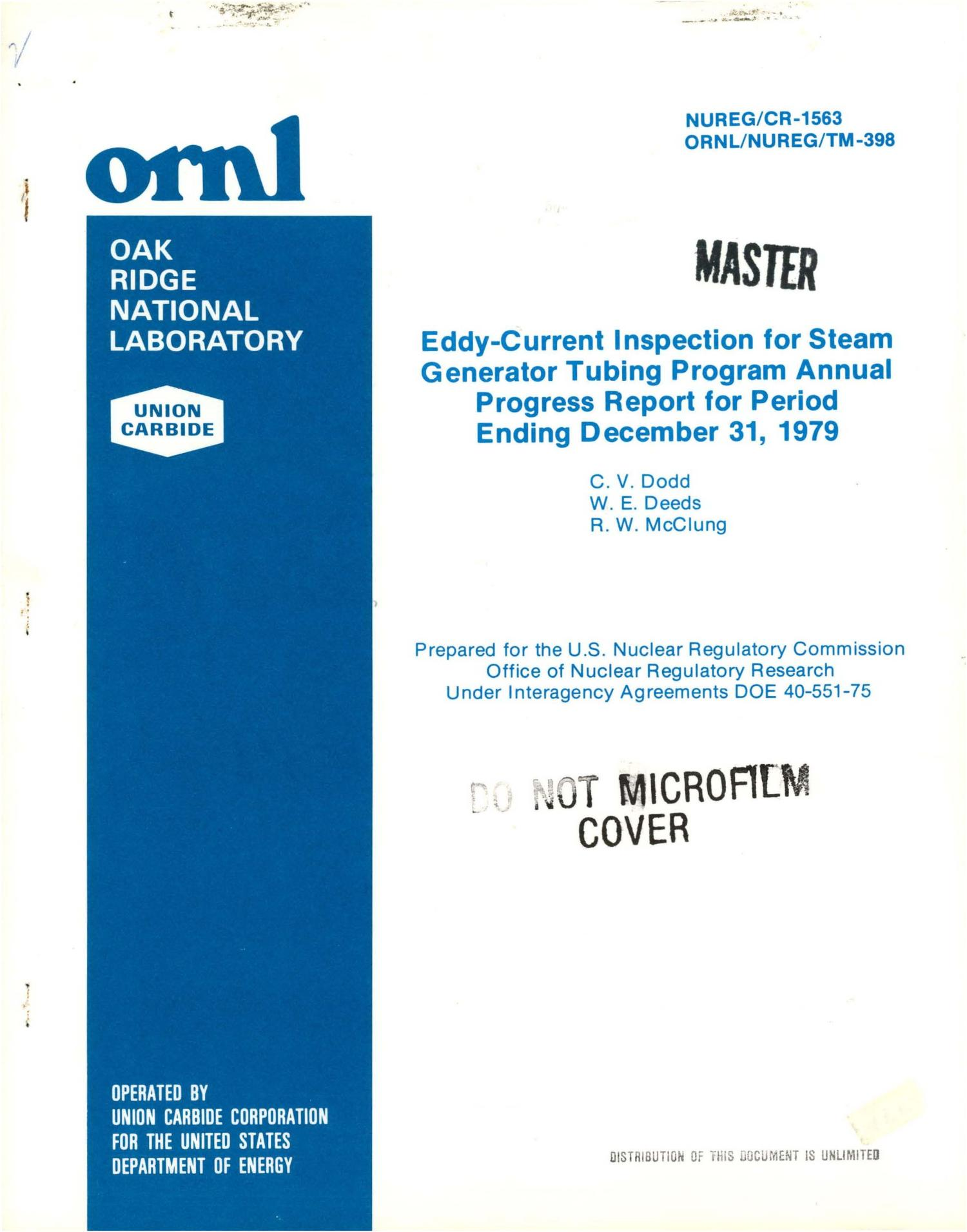 Eddy current inspection for steam generator tubing program Annual