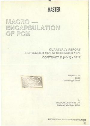 Primary view of object titled 'Macro-encapsulation of heat storage phase-change materials for use in residential buildings. First quarterly progress report, September 29--December 29, 1976'.