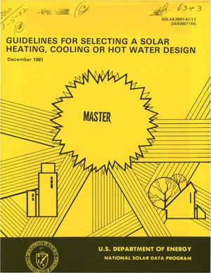 Primary view of object titled 'Guidelines for selecting a solar heating, cooling or hot water design'.