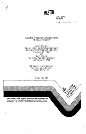 Primary view of object titled 'Inspection methods for safeguards systems at nuclear facilities'.