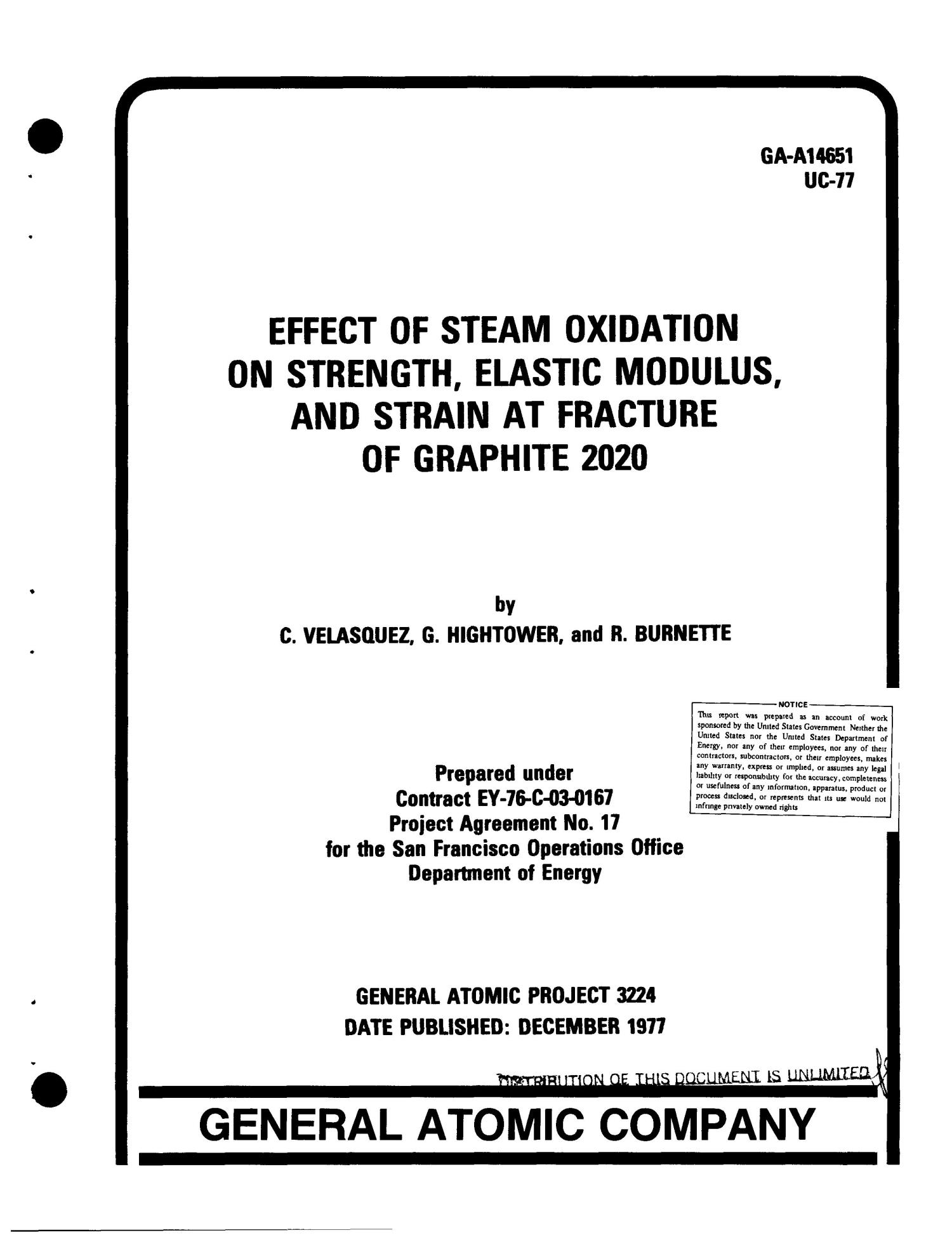 Effect Of Steam Oxidation On Strength Elastic Modulus And Strain